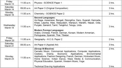 icse 10th time table 2020