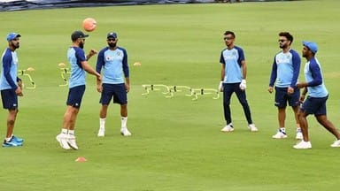 team india during the training session ahead of the first t20 match against west indies in hyderabad