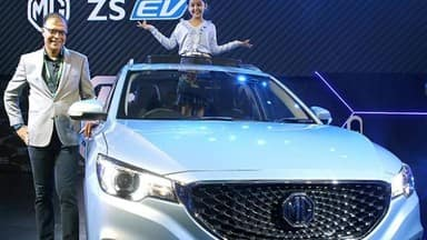 mg motor india unveils company new electric car model zs in new delhi
