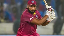 west indies batsman kieron pollard plays a shot  pti