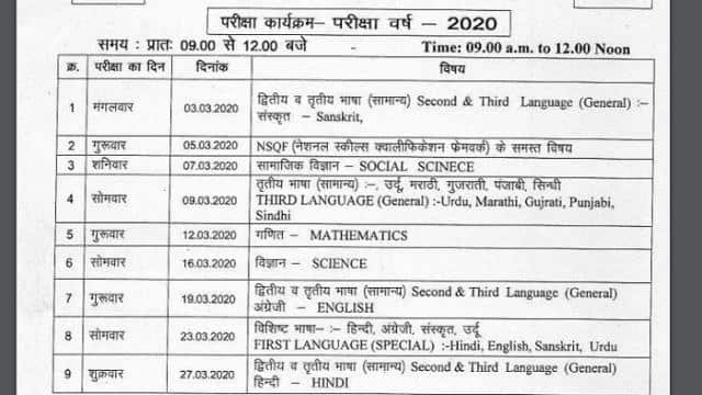 mp board 10th date sheet 2020
