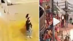 brahmastra  screengrabs from the videos show alia bhat and ranbir kapoor dancing in varanasi