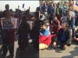 protest in demand of justice for gaurav chandel in gaur city