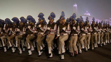 soldiers take part in the rehearsal for the republic day parade