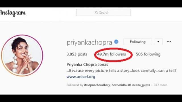 priyanka chopra instagram followers