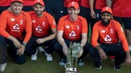 england s captain eoin morgan with teammates  ap