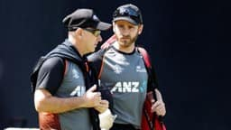 new zealand s kane williamson and head coach gary stead during nets  action images via reuters
