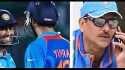 yuvraj singh and ms   dhoni  l   ravi shastri  r  ht collage