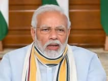 Prime Minister Narendra Modi holds meeting with the chief ministers via video conferencing on Covid-19 situation, in New Delhi on Monday.(ANI Photo)