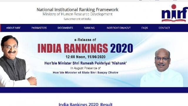 nirf india ranking 2020 result