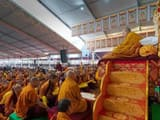 his holiness the 14th dalai lama  who turns 85 on july 6  preaching to his disciples at bodh gaya in