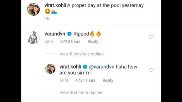 varun dhawan s comment on virat kohli s post
