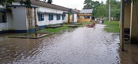 नवगछिया अनुमंडल कार्यालय परिसर में भरा पानी
