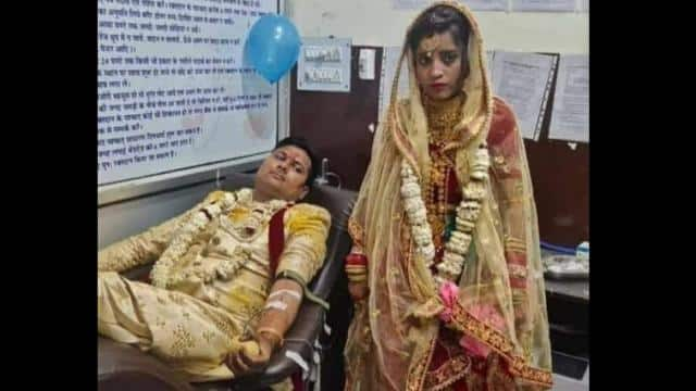 couple donates blood on wedding day to save life of young girl