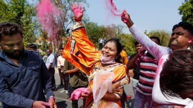 ahmedabad  bjp workers and supporters celebrate after the party won civic body election