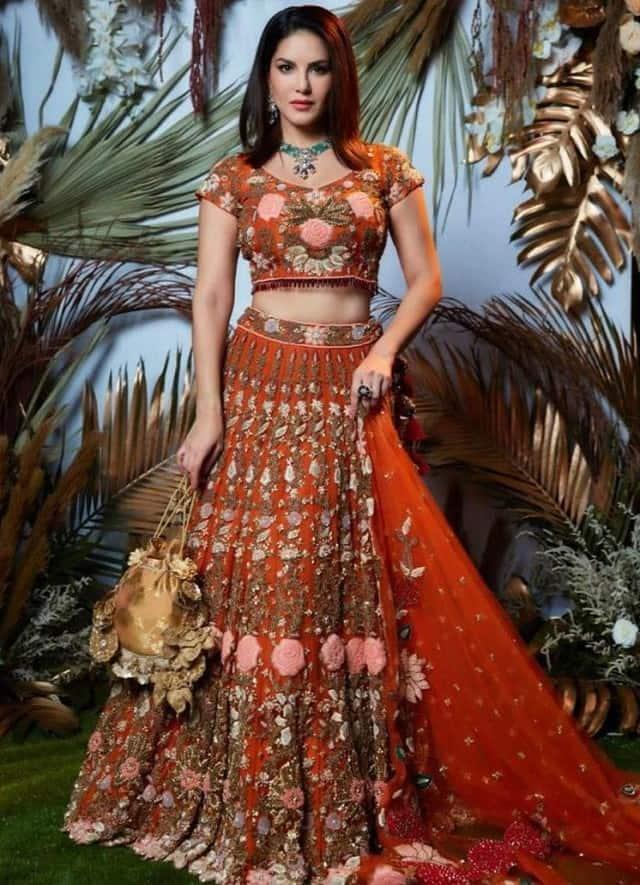 bollywood actress sunny leone looked so beautiful in white lehenga see beautiful photos
