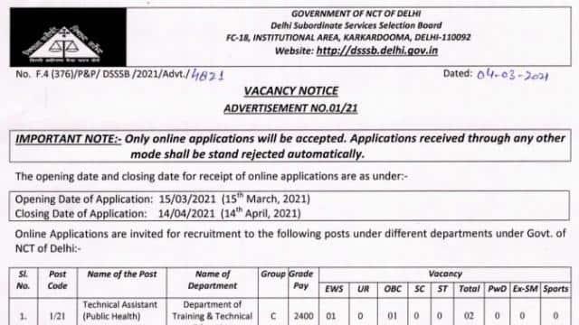 dsssb vacancy 2