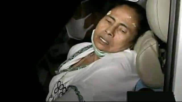 West Bengal CM Mamata Banerjee injured as she was pushed by a few people during her public gathering, in Nandigram on Wednesday. (ANI Photo)