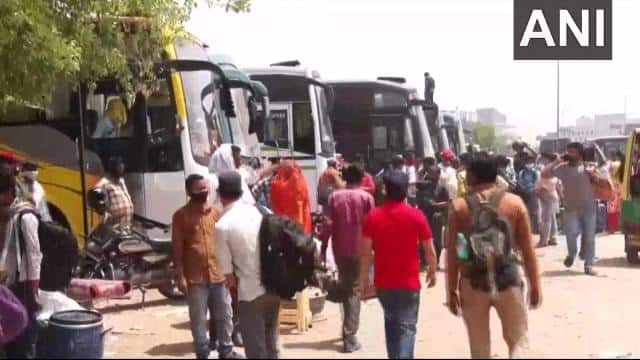 haryana  migrant workers in gurugram were seen leaving for their native places  amid increasing covi