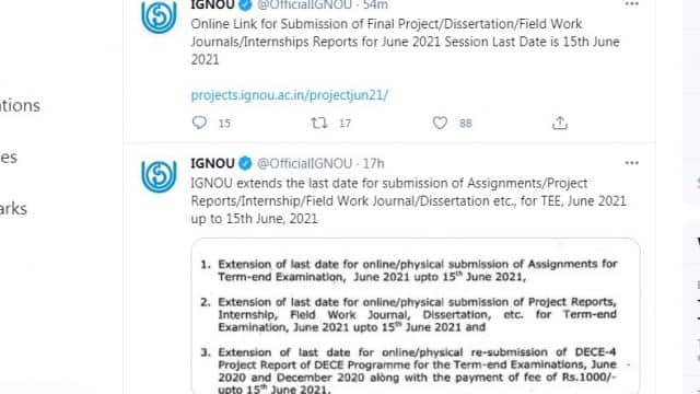 ignou extended submitting june 2021 tee assignments projects journals internship report field work
