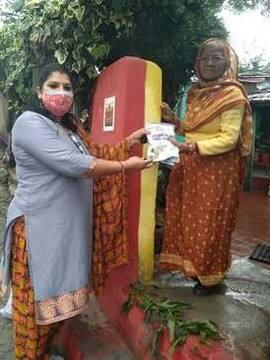 भाजपा महिला मोर्चा ने लोगों से टीका  लगाने की अपील की