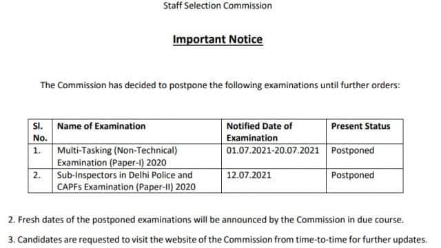 ssc delhi police capf si exam
