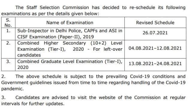 ssc cgl tier i chsl delhi police si capf asi cisf exam date