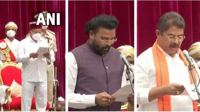 कर्नाटक में नए मंत्रियों ने ली शपथ, येदियुरप्पा के बेटे को नहीं मिली जगह, डिप्टी सीएम भी नहीं बनाया