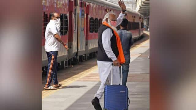 हाथ में बैग लिए 'पीएम मोदी' ट्रेन से कहां जा रहे हैं? हमशक्ल को देखकर आप भी खा गए ना धोखा