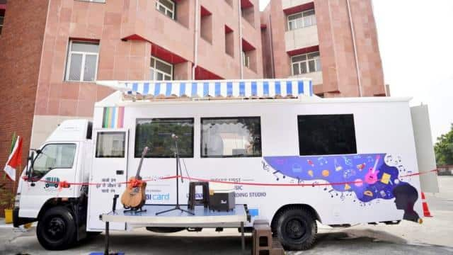 India's first Mobile Music Classroom & Recording StudioStudio microphone at Delhi Govt's 'School of Specialized Excellence in Performing & Visual Arts.