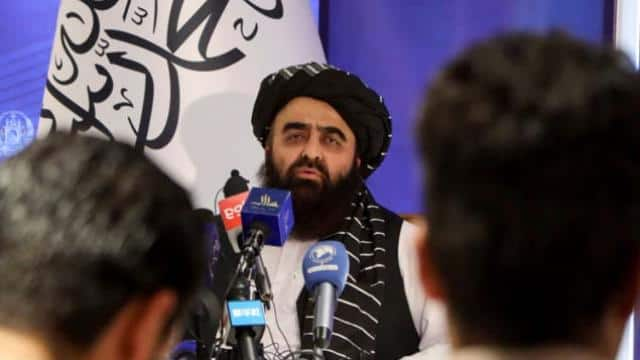 taliban acting foreign minister amir khan muttaqi speaks during a news conference in kabul afghanist